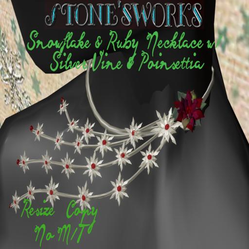 Snowflake & Ruby Vine Necklace Poinsettia_texture
